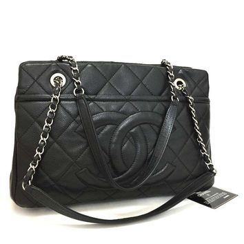 CHANEL Quilted Silver Hardware CC Logo Caviar Skin Chain Shoulder Tote Bag /e731