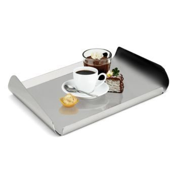 Serving Tray in Stainless Steel 18/10 Grade with Curved Edges Elleffe Design