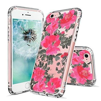 iPhone 6s Case, iPhone 6 Case Clear, MOSNOVO Red Floral Flower Pattern Printed Clear Design Transparent Plastic Hard Back Case with TPU Bumper Protective Case Cover for Apple iPhone 6 6s (4.7 Inch)