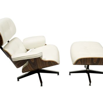 EAMES Style Lounge Chair - White PU Leather