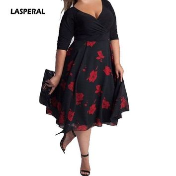 LASPERAL 5XL Summer Ladies Dress Flower Print Pattern A-Line Half Sleeves Empire Waist Dress Vintage Vestidos