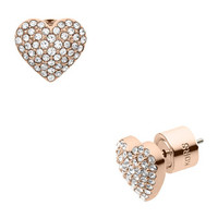 Michael Kors Pave Heart Stud Earrings, Rose Golden