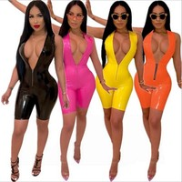 Women Sexy PU Leather Deep V-Neck Jumpsuit Romper
