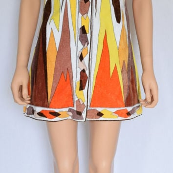 Vintage 1960's EMILIO PUCCI PsYcHeDeLiC ULtrA MoD Op ArT HiPPiE TeRRy CLoTh Beach COUTURE Cover Up Dress 10 S M