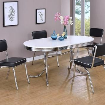 2065-2066 5 pc oval shaped retro chrome finish dining table set with black cushioned seats