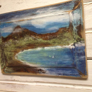 Original Painting Seascape - Only By Sea - Beach House Nautical Wall Art - Ready to Ship