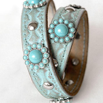 Western Leather Dog Collar with Full Grain Leather,  Silver and Turquoise Conchos, size Large