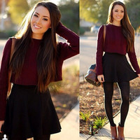 FASHIONABLE LONG SLEEVE KNIT SWEATER AND PURE COLOR SKIRTS