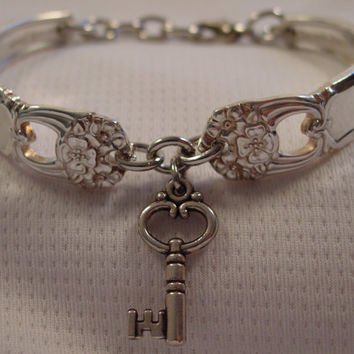 A Pretty Spoon Bracelet Eternally Yours Pattern With Key Charm Handmade Spoon and Fork Jewelry b163