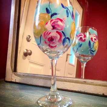 Hand painted, wine glass, shabby chic, romantic, glassware