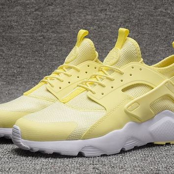 Best Online Sale Nike Air Huarache 4 Rainbow Ultra Breathe Women yellow Running Sport Casual Shoes Sneakers - 923