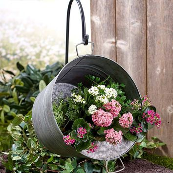 Rustic Garden Planter Hanging Galvanized Pail w/Shepherd's Hook Bucket Country