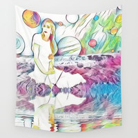 Girl in Space Pastel Dream Wall Tapestry by Zurine