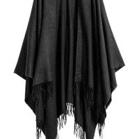 Woven poncho with fringes - Black - Ladies | H&M CA