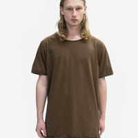 Basic Straight-Bottom Short Sleeve Tee in Earth Brown