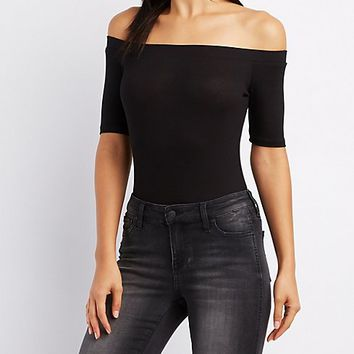 Ribbed Off-The-Shoulder Bodysuit | Charlotte Russe