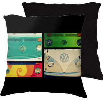 VW Collage - Art Photography Pillow - Cotton or Microfiber with or without your choice of insert, Groovy, Hipster, Hippie,