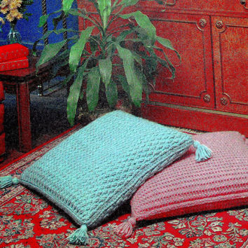 INSTANT DOWNLOAD PDF Vintage Crochet pattern floor pillow cushion floor cushion tassels epsteam home decor couch pillow knitting pattern