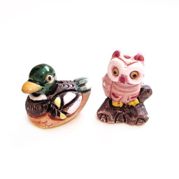 Miniature Cat / Duck Figurines, Ceramic Clay Pottery