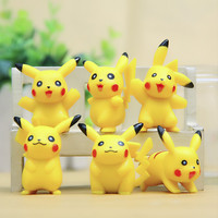 6PCS/lot Pokemon Go Pikachu Action Figures  Cute Monster Mini Figures Toys Model Best Birthday Gifts Brinquedos 5cm