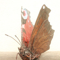 Scrap Metal Sculpture of a Peacock Butterfly, Upcycled Metal Artwork, 'Chainsaw Butterfly'