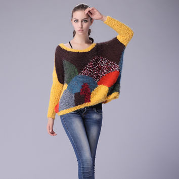 Stylish Knit Tops Love Star Autumn Women's Fashion Multi-color Sweater [9056519494]