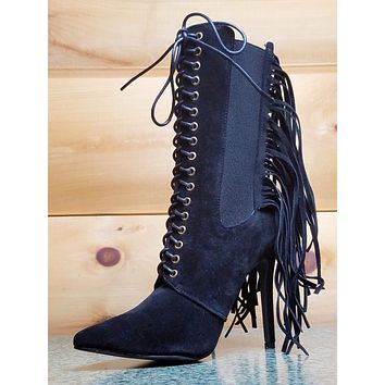 RK Alizay Black Fringe Pointy Toe Elastic Panel Lace Up High Heel Ankle Boots