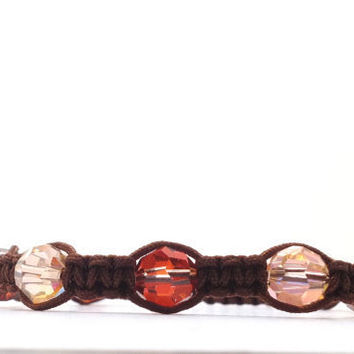 Bracelet Brown Macrame Beaded by GirlBurkeStudios on Etsy