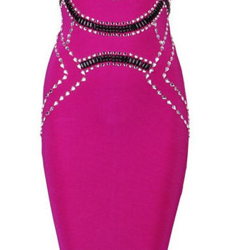 Fredricka Fuchsia Beaded Bandage Dress