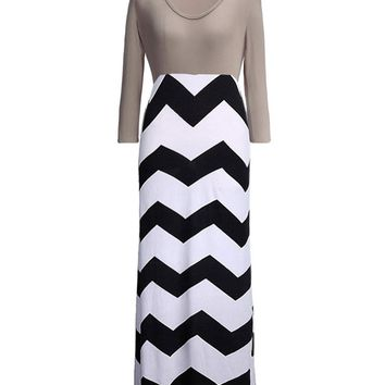 Streetstyle  Casual Color Block Zigzag Striped Round Neck Swing Maxi Dress