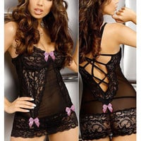 Pink Bow Tie Floral Lace Babydoll Lingerie