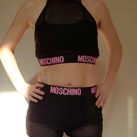 Reworked moschino crop top and shorts coord set