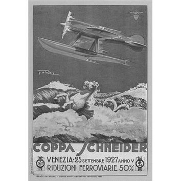 Italian Seaplanes Coppa Schneider 1927 poster Metal Sign Wall Art 8in x 12in Black and White