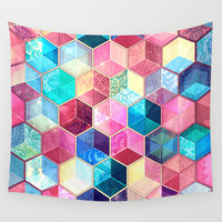 Topaz & Ruby Crystal Honeycomb Cubes Wall Tapestry by Micklyn