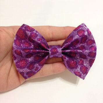 Purple and Pink Glitter Leopard Print Canvas Hair Bow on Alligator Clip - 4 Inches Wide - Affordable and High Quality Hair Bows