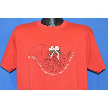 80s French Horn We Wish You a Merry Christmas t-shirt Extra Large