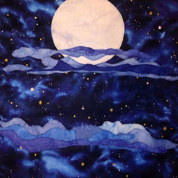 Starry Night Full Moon Quilted Wall Hanging Art Quilt
