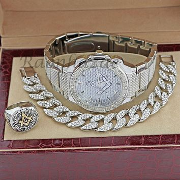 MEN FREEMASON MASONIC ICED OUT 14K WHITE GOLD WATCH CUBAN BRACELET RING FM03S