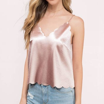 Levy Satin Scalloped Tank