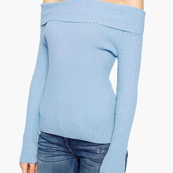 Blue Off-Shoulder Knitted Sweater