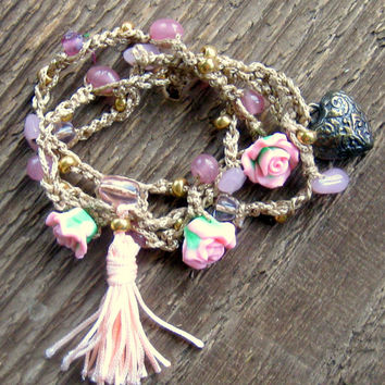 Pink Roses Crochet Wrap Bracelet Garden Party Bohemian Jewelry Spring Trends