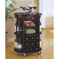 Monarch Specialties Round Bar Serving Cart with Wine Storage, Cappuccino
