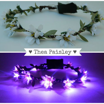 Light up flower crown EDC Daisy LED Halo in Purple headband