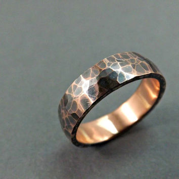 Chunky Copper Ring Domed Band Forged Hammered Rustic Wedding Thick