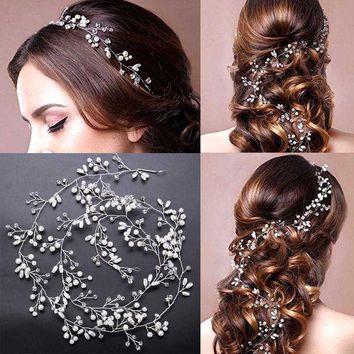Luxury Crystal Handmade Long Bridal Headband Headpiece Pearl Hairbands Wedding Hair Accessories Bride Head Chain Sl