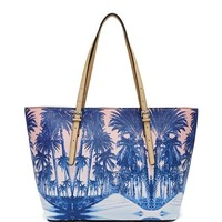 Delaney Palm Tree Small Classic Tote | GUESS.com