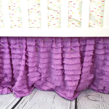 Ruffle Crib Skirt Baby Girl Bedding Nursery Decor - Many Colors Available