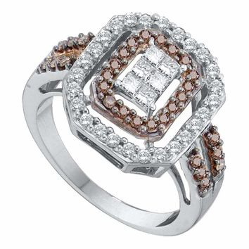 14kt White Gold Women's Round Cognac-brown Color Enhanced Diamond Rectangle Cluster Ring 3-4 Cttw - FREE Shipping (US/CAN)
