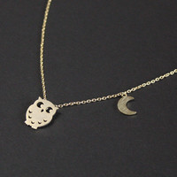 Owl necklace with crescent moon in gold