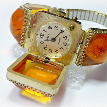 Vintage Chaika Watch Women's Soviet Russian Co Mechanical 17 Jewels Faux Amber Stones Hinged Cover Over Face Ornamental Etchings around Face